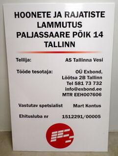 PVC kyltti rakennustyömaalle Tallinna Vesi